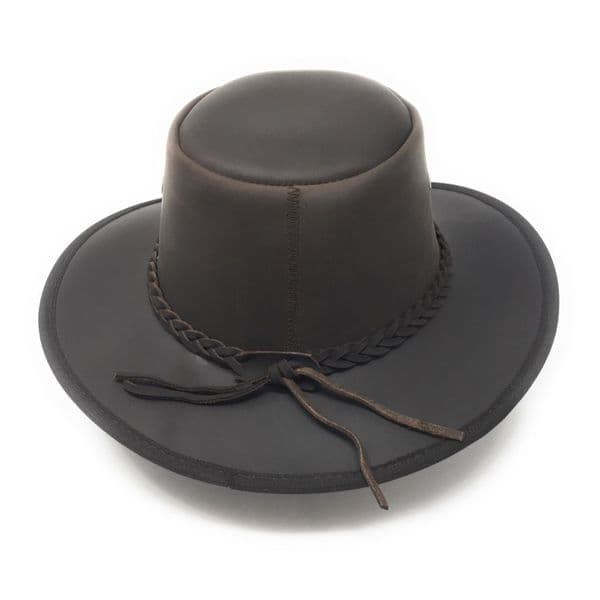 Foldable Leather Bush Hat with Chin Strap - Adventurer